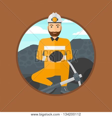 A hipster miner with the beard sitting with coal in the hands. Miner with a pickaxe at coal mine. Miner working at coal mine. Vector flat design illustration in the circle isolated on background.