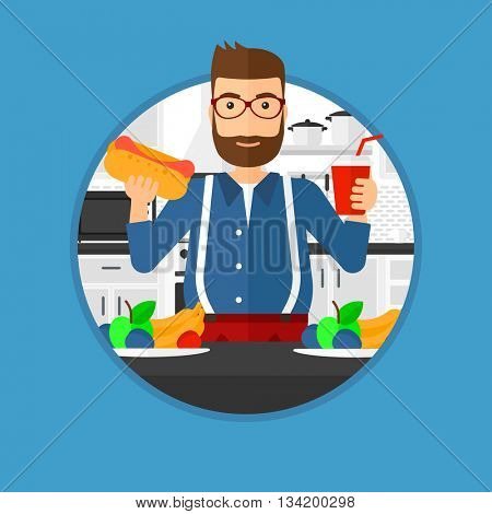 Fat hipster man eating fast food. Man holding fast food in hands in the kitchen. Man choosing between fast food and healthy food. Vector flat design illustration in the circle isolated on background.
