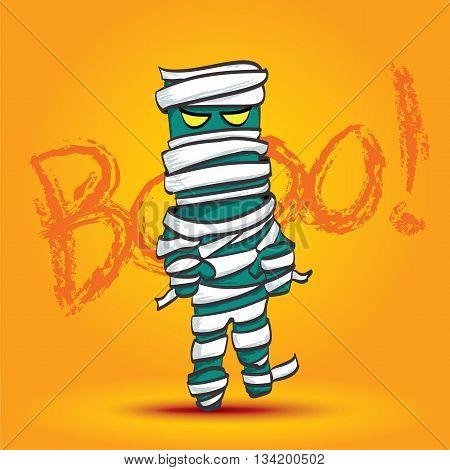 Vector : Mummy Walk On Yellow Background With Boo Word, Halloween Cartoon.