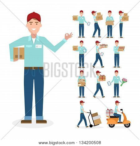 Caucasian postman set. Isolated cartoon character. White background. All delivery equipment.
