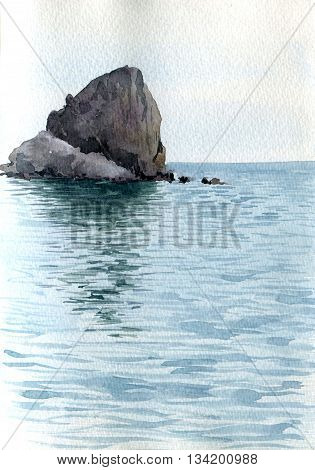 lone rock in the middle of the sea with the reflection in calm water, landscape drawing in watercolor, hand painting illustration