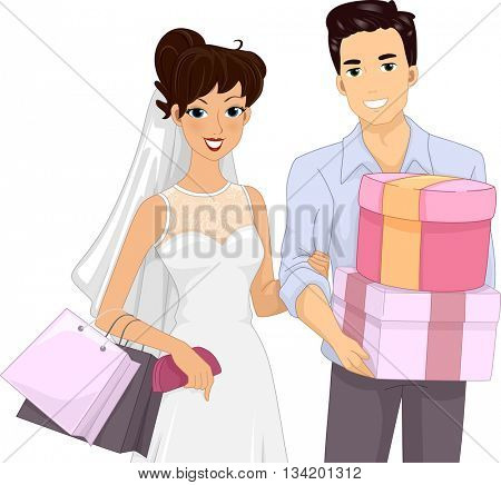 Illustration of a Married Couple Carrying Wedding Gifts
