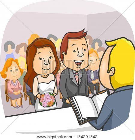 Illustration of a Couple Having a Civil Wedding