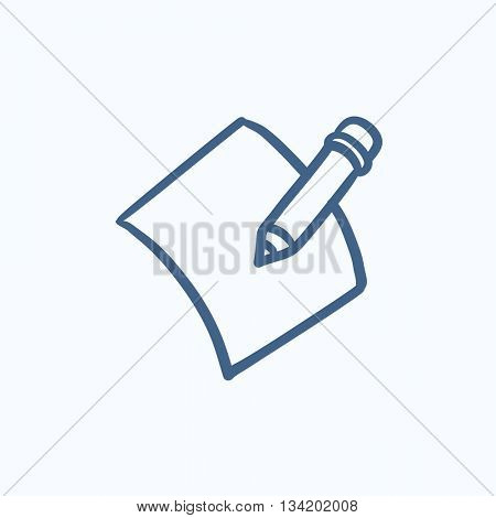Pencil and document vector sketch icon isolated on background. Hand drawn Pencil and document icon. Pencil and document sketch icon for infographic, website or app.