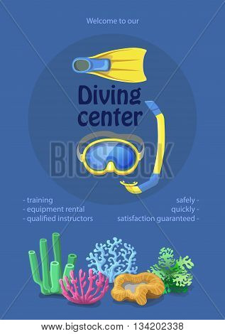 Dive center design. diving mask, snorkel flippers on blue background. Swimming equipment