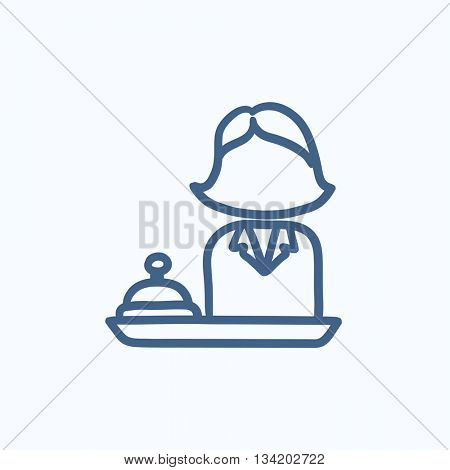 Female receptionist vector sketch icon isolated on background. Hand drawn Female receptionist icon. Female receptionist sketch icon for infographic, website or app.