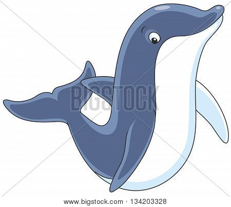 Vector illustration of a dolphin friendly smiling, on a white background