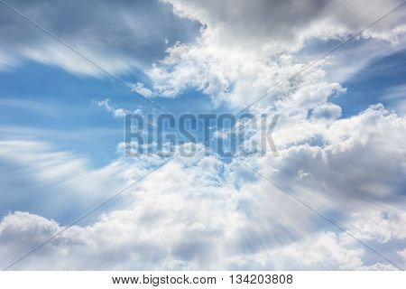 Colourful Puffy Clouds Soft Blue Sky With Dreamy And Fantasy Mood, Coulds On Dreamy White And Blue T