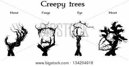 Set of four silhouettes of creepy trees