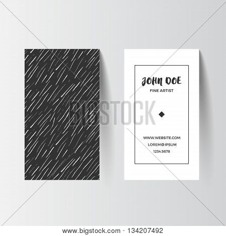 Business card template. Vector illustration. Black and white layout with grunge ink texture. Artistic modern abstract pattern