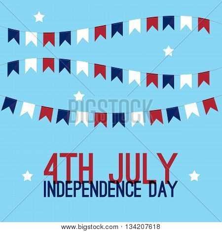 4th of july - Independence Day in United States of America greeting card. American national flag color illustration.