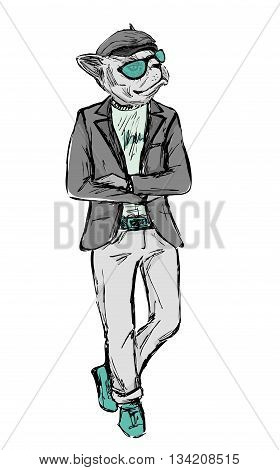 Hand Drawn Fashion Portrait of Bulldog Hipster isolated on white background vector