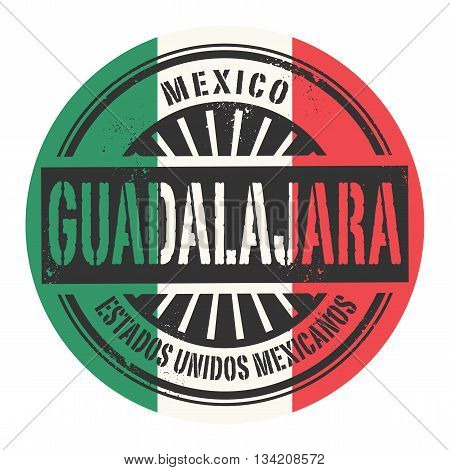 Grunge rubber stamp with the text Mexico, Guadalajara, vector illustration