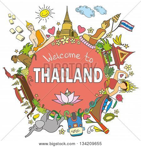 Welcome to Thailand . Set Thai color vector icons and symbols vector illustration