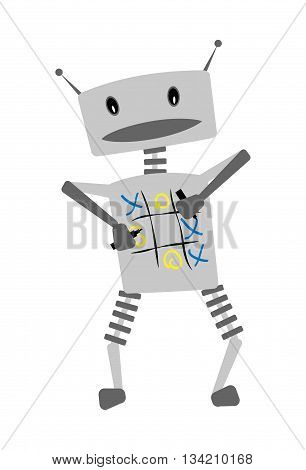 Cute fun cheerful robot character plays tic-tac-toe