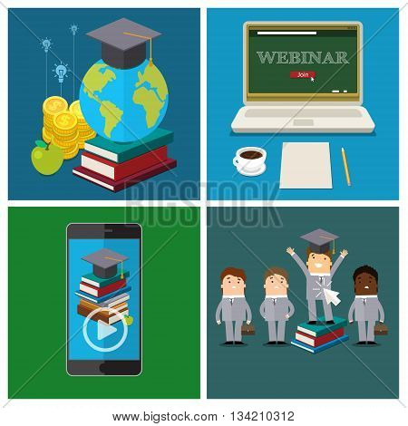 Set of online education concept. Distance education, online learning, certificate programs, international educational projects, start of successful career. Flat design vector illustration .