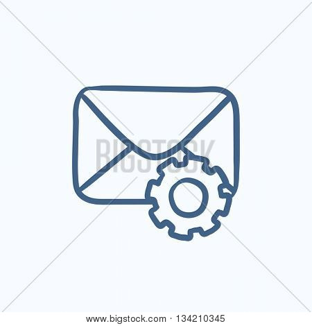 Envelope mail with gear vector sketch icon isolated on background. Hand drawn Envelope mail with gear icon. Envelope mail with gear sketch icon for infographic, website or app.