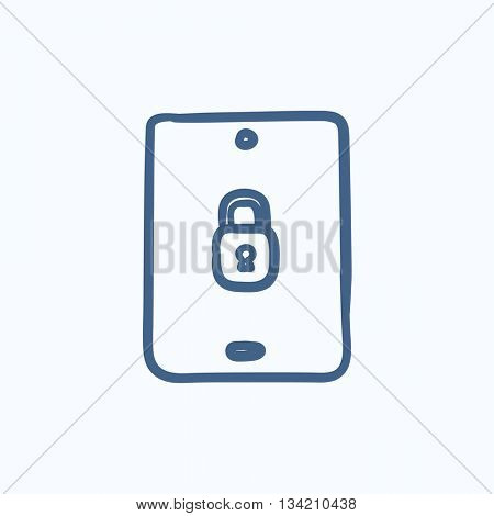 Digital tablet security vector sketch icon isolated on background. Hand drawn Digital tablet security icon. Digital tablet security sketch icon for infographic, website or app.
