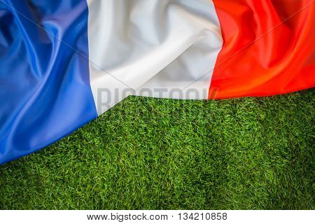 Flags of France on green grass