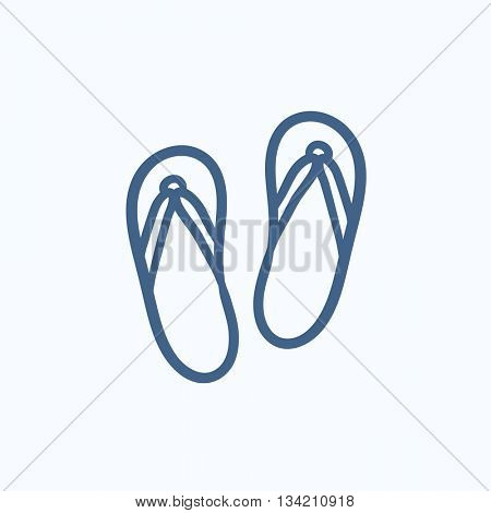 Beach slipper vector sketch icon isolated on background. Hand drawn Beach slipper icon. Beach slipper sketch icon for infographic, website or app.