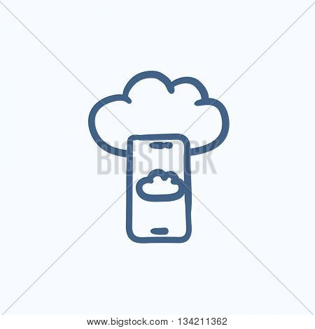 Cloud computing vector sketch icon isolated on background. Hand drawn Cloud computing icon. Cloud computing sketch icon for infographic, website or app.