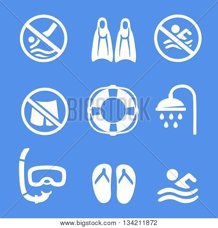 Swimming, scuba diving, sport white icons set