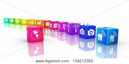 Internet of things icons on rainbow colored cubes in a circle IOT 3D illustration