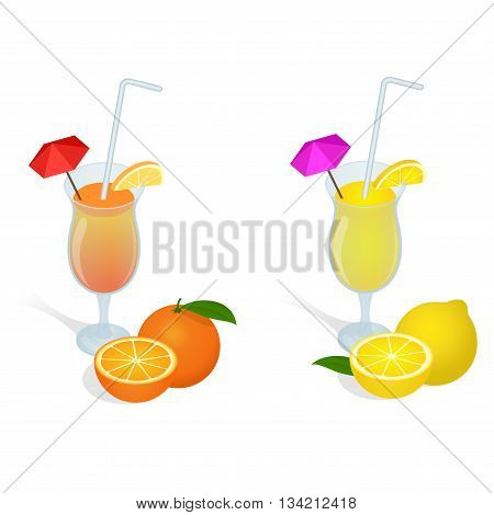 Fresh juices set. Design elements for cafe and restaurant menu. Healthy eating concept. Flat 3d vector isometric illustration