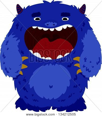 Vector illustration of cute little monster nice character