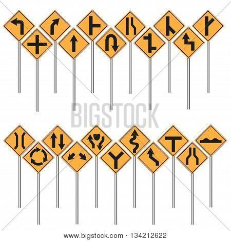 Traffic sign set yellow isolated vector illustration.