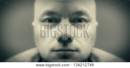 Android man. Symmetrical portrait. Black and white (monochrome) Photo