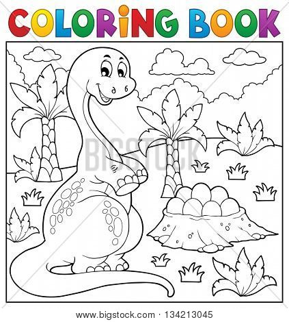 Coloring book dinosaur topic 8 - eps10 vector illustration.