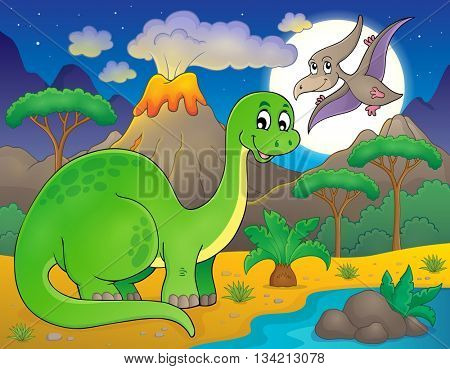 Night landscape with dinosaur theme 6 - eps10 vector illustration.