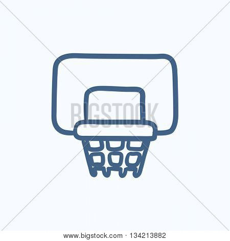 Basketball hoop vector sketch icon isolated on background. Hand drawn Basketball hoop icon. Basketball hoop sketch icon for infographic, website or app.