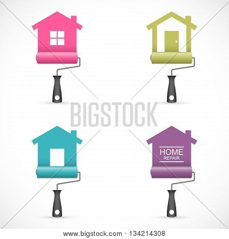 Set of house renovation icons with paint rollers. Vector illustration Eps 10
