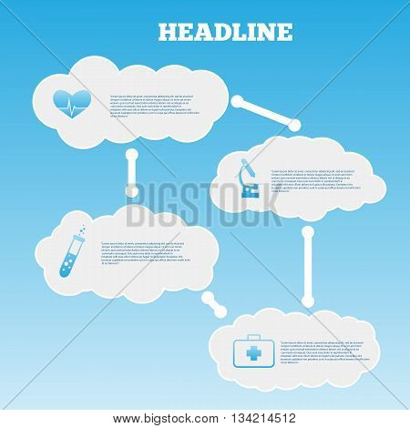 Vector Infographic Composition With Medic And Clouds Icons Vector Eps 10 Vector
