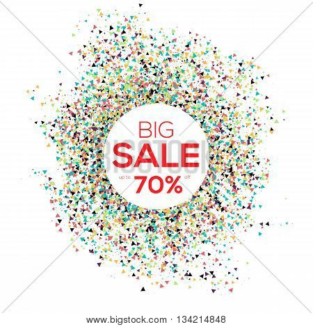 Sale confetti banner on white background. Sale background. Big sale. Sale tag. Sale poster. Sale vector. Spring Sale and special offer. 50 off.