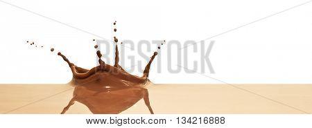 chocolate splash closeup isolated on white background