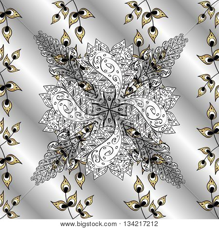 Abstract stripes silverl background with white and golden doodles flowers.