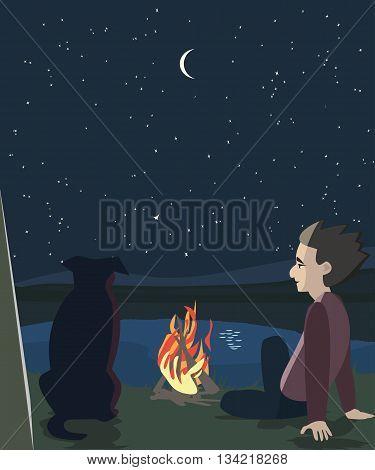 man and dog oudoors at night - cartoon vector illustration