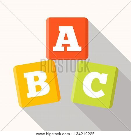 ABC blocks flat icon with long shadow. Vector