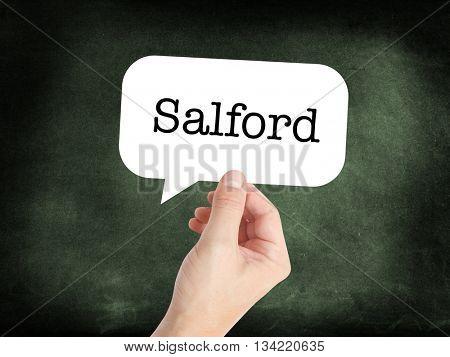 Salford written in a speech bubble