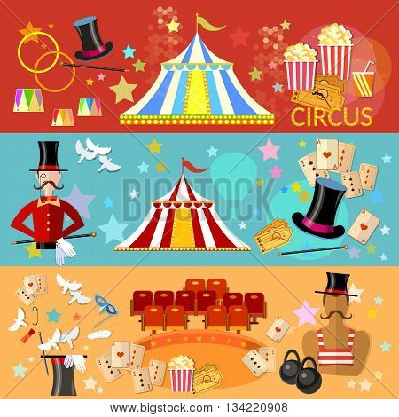 Circus banner circus performance tent magic hat tricks vector illustration