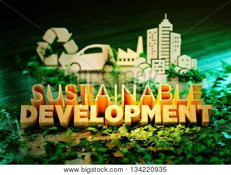 Sustainable development concept on green background with ecology symbols in background. 3D rendering.