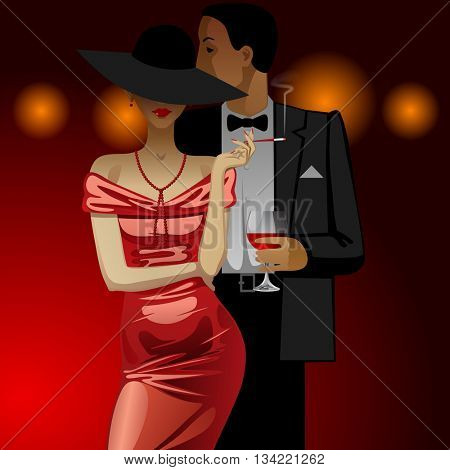 Man and woman in Evening Dress dark on dark red background with lights