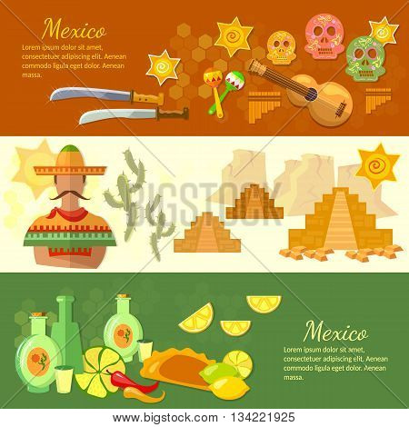 Mexico banners mexican culture and food poncho guitar sombrero vector illustration
