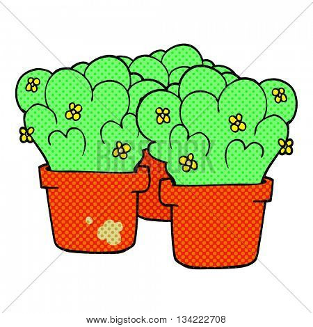 freehand drawn comic book style cartoon potted plants