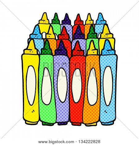 freehand drawn comic book style cartoon crayons