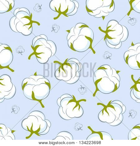 seamless pattern with cotton plant on blue background