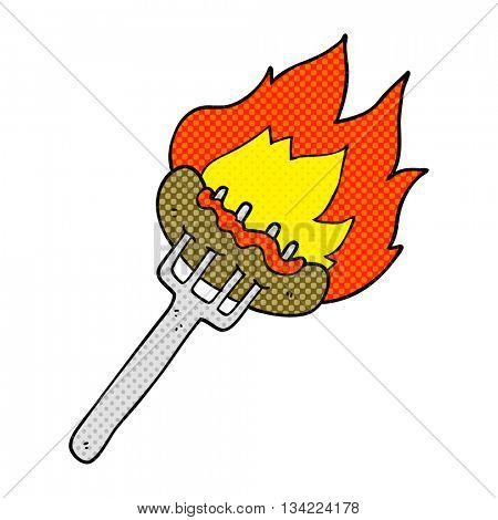 freehand drawn comic book style cartoon sausage on fork